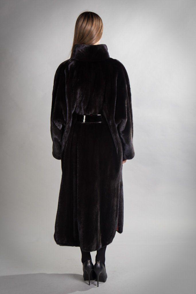 Норковая шуба Black glama, 122 см, Vitto Ponti, Греция